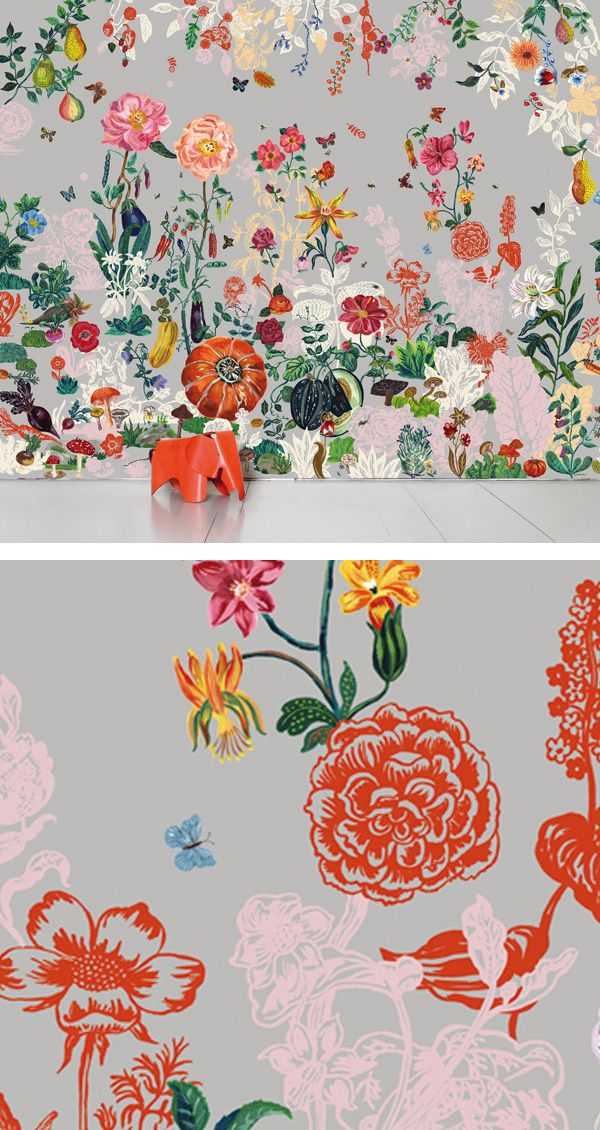 Wallpaper/fabric on canvas to create inexpensive large scale art for tour walls.