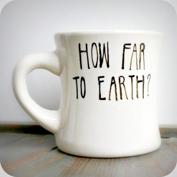 Sci Fi Funny Mug Coffee Tea Cup Diner Black White Hand Painted Earth Alien Outer