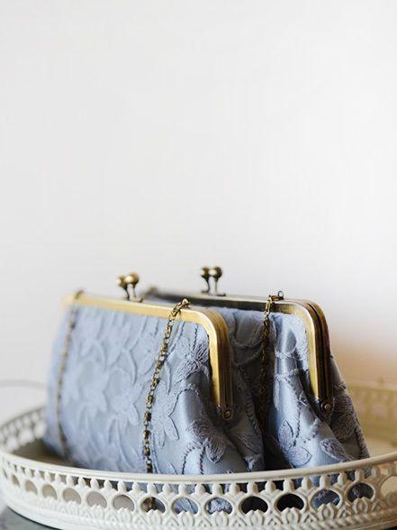 Clutch Me Honey -Bridesmaids Clutches- Gray Mismatched Lace Bridesmaids Clutches