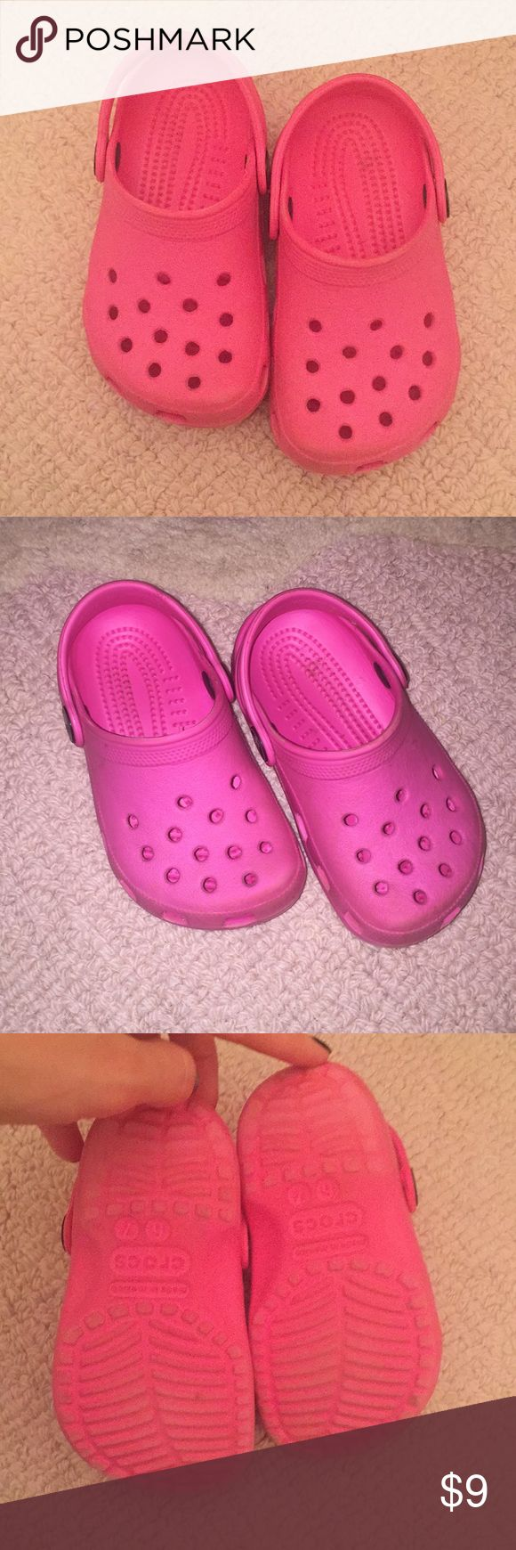 Hot pink Crocs Good used condition! Hot pink. CROCS Shoes