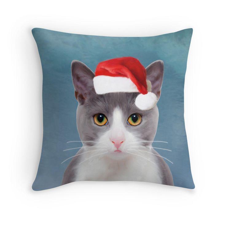 #Cat wearing Santa Hat Christmas Portrait