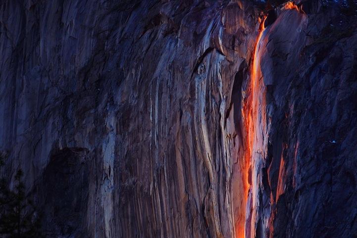 Horsetail Falls glowed just before sunset at Yosemite National Park in California. (Phil Hawkins/Reuters)