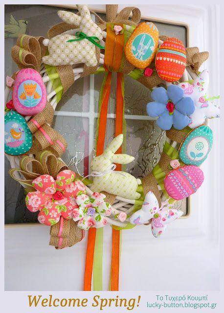 Το τυχερό κουμπί: Η άνοιξη και τα καλούδια της! Decorative Easter Wreaths