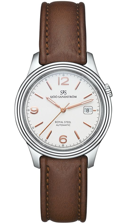 Royal Steel Classic 41 mm, ivory rose gold dial with brown calf. #sjöösandström #sjoosandstrom #watch #watches #sweden #classic