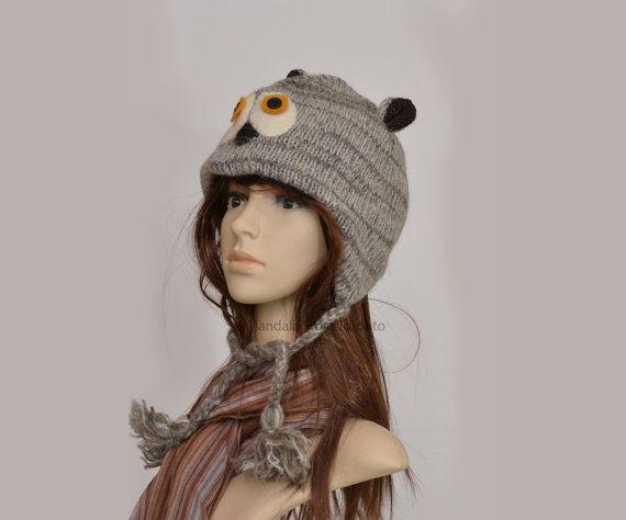 Grey owl animal hat   warm hat  knit hat  beanie by HatsMittensEtc