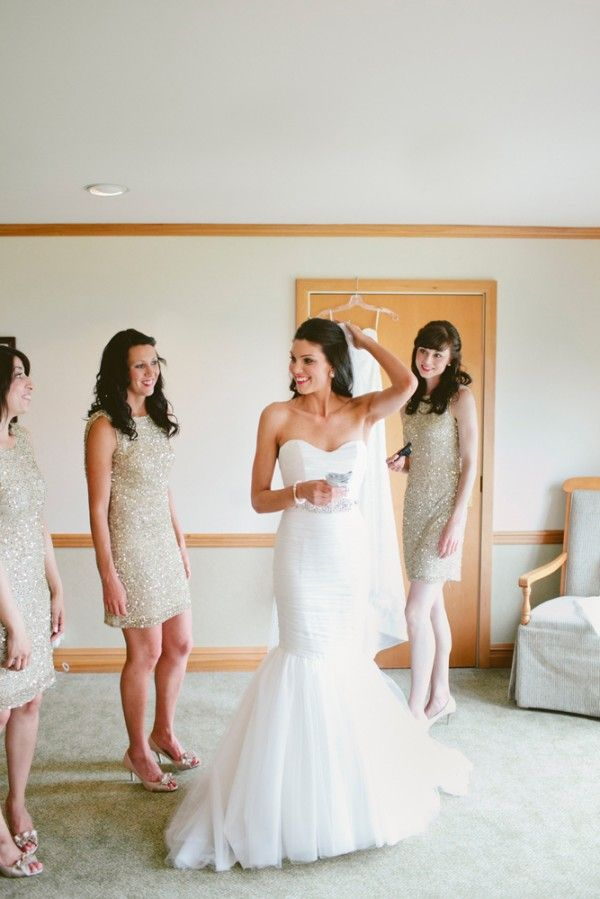 Love this Mikaella gown and sparkly bridesmaid dresses!