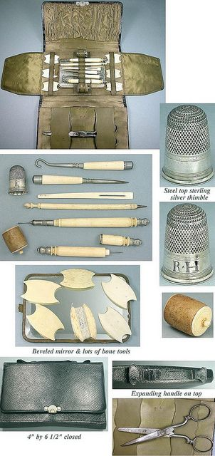 Antique sewing kit with bone accessories.