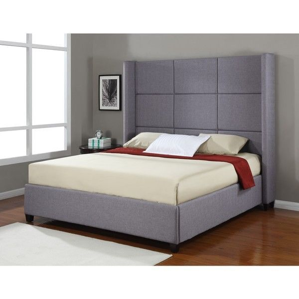 Details about platform bed frame upholstered headboard modern king size bedroom nailhead grey - Kingsize platform beds ...