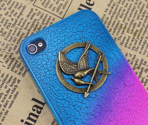The Hunger Games  Mockingjay Logo Colorful  iPhone 4/4S case, Apple iPhone 4 Case, iPhone 4s Case, iPhone 4 Hard Case-Brass Hunger Games. $7.99, via Etsy.