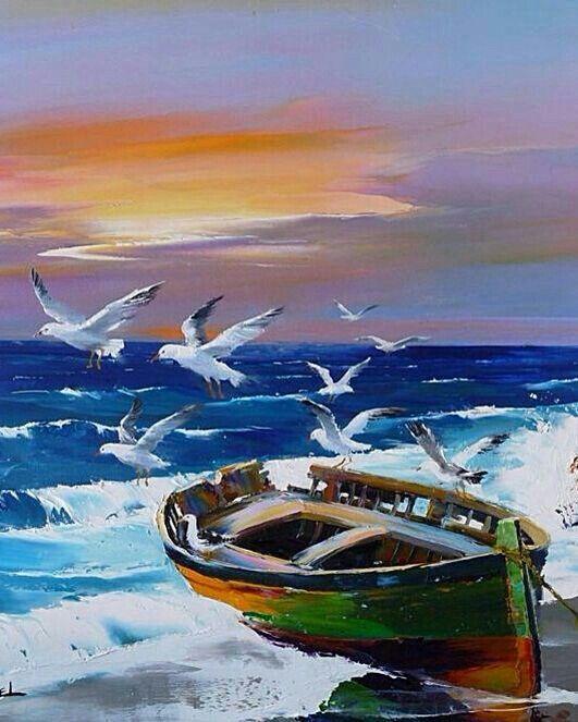 Sea, gulls, boat