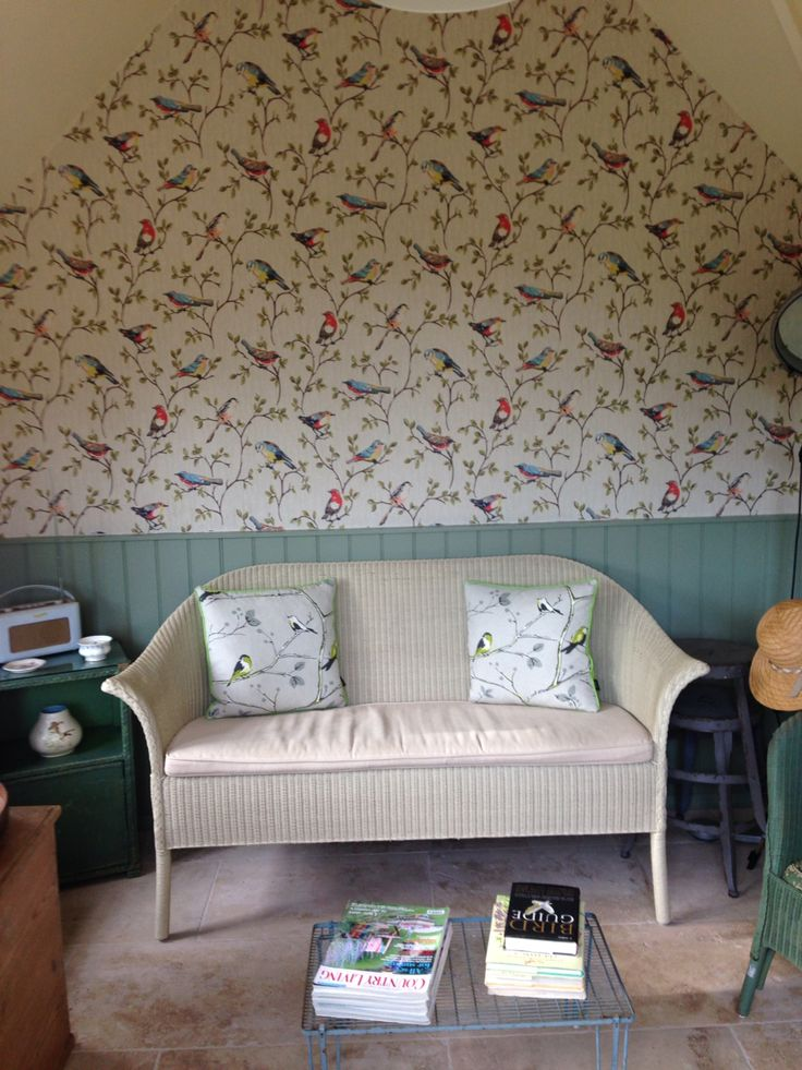 Our summer room in the lovely Cath Kidston bird wallpaper!