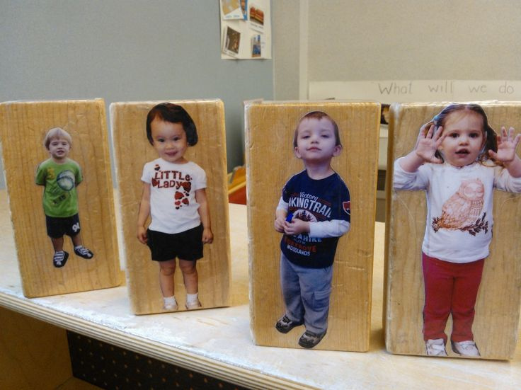 I use these photo blocks in our block center. I take a full body shot and cut it out and then just tape it to a block.  the kids love using them both in the block center and for other games they invent.