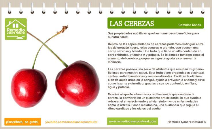 Conoce las grandes bondades de las cerezas, sus beneficios, sus nutrientes y sus grandes propiedades. http://www.remediocaseronatural.com/comidas-sanas-beneficios-cerezas.htm
