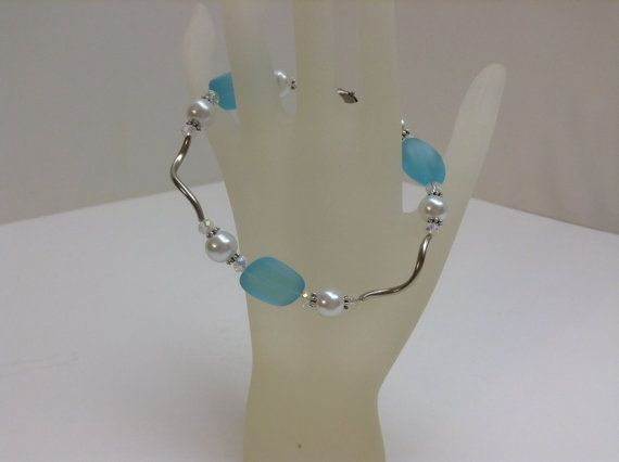 Turquoise Bay Sea Glass Bracelet with Glass Pearls by kathyv552, $18.00