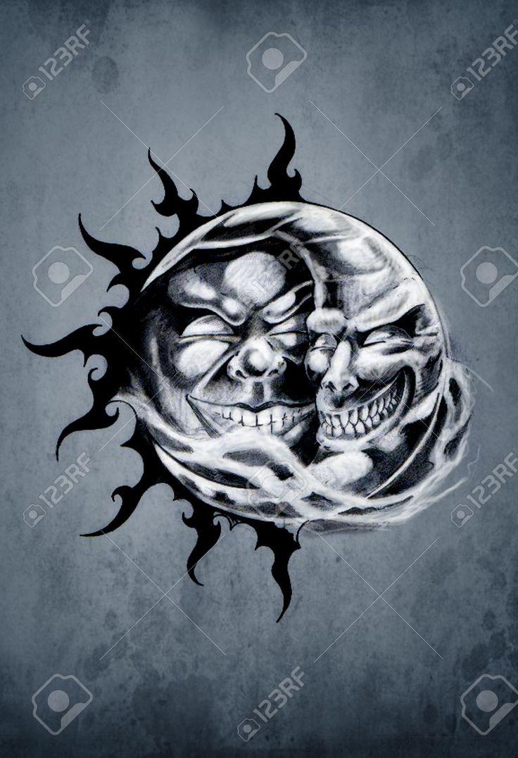 1000 id es sur le th me tatouages de lune et de soleil sur pinterest tatouages de soleil - Tatouage lune poignet ...
