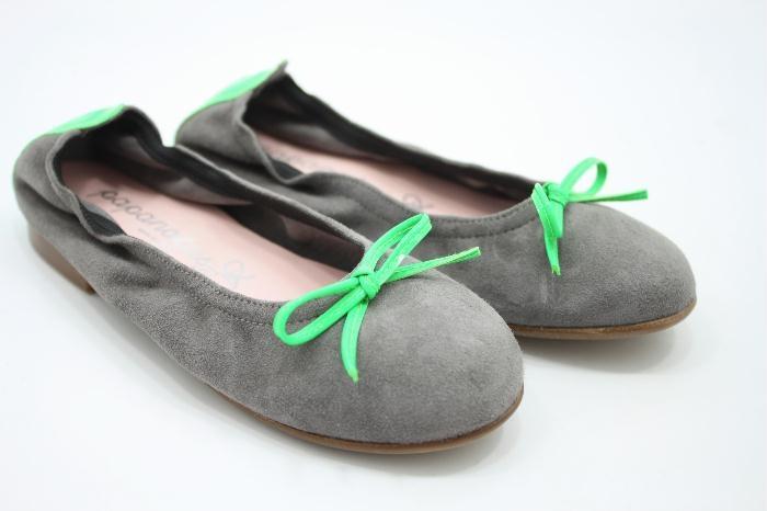 Eli ballerina grijs suede met groen neon details