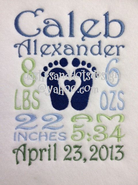baby birth announcement embroidery pattern | Baby Block custom birth information machine by DashesandDotsDesign, $5 ...