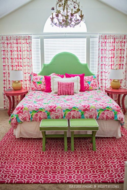 3580 best images about pink and green home decor on for Pink and green bedroom designs