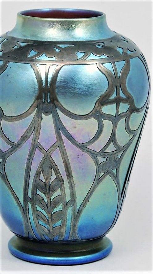 Loetz Blue Iridescent Art Glass Silver Overlay Vase Loetz Czech