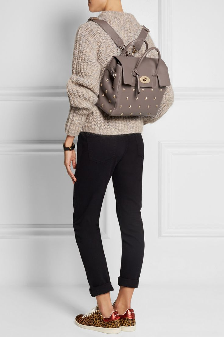 Mulberry|+ Cara Delevingne studded leather backpack|NET-A-PORTER.COM
