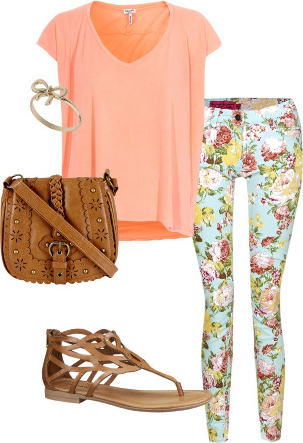 """Floral jeans outfit"" by kathyalice on Polyvore jadoree Teen fashion Cute Dress! Clothes Casual Outift for • teens • movies • girls • women •. summer • fall • spring • winter • outfit ideas • dates • school • parties"