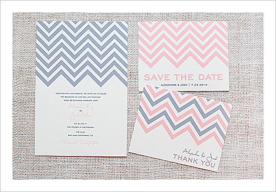 If you love the chevron print, you'll adore these chevron wedding invites. Source: Wedding Chicks