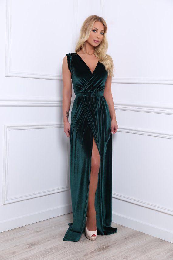 ba9c4665d84cb Dark Green Velvet Maxi Dress/ Wrap Neckline High Slit Bridesmaid ...