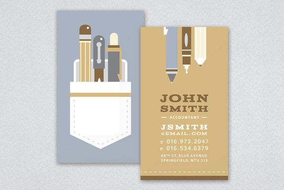Pocket protector business card for dorks. Or accountants, CPA's ...