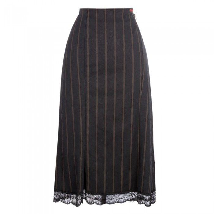Black/brown pinstripe skirt