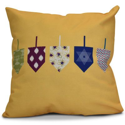 """The Holiday Aisle Hanukkah 2016 Decorative Holiday Geometric Throw Pillow Size: 16"""" H x 16"""" W x 2"""" D, Color: Yellow"""
