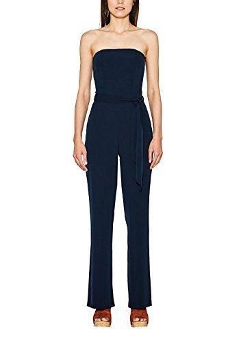80b5e927d06dd4 ESPRIT Collection Damen Jumpsuit 067EO1L003 Blau (Navy 400) 34. Elasthan  sorgt für maximalen