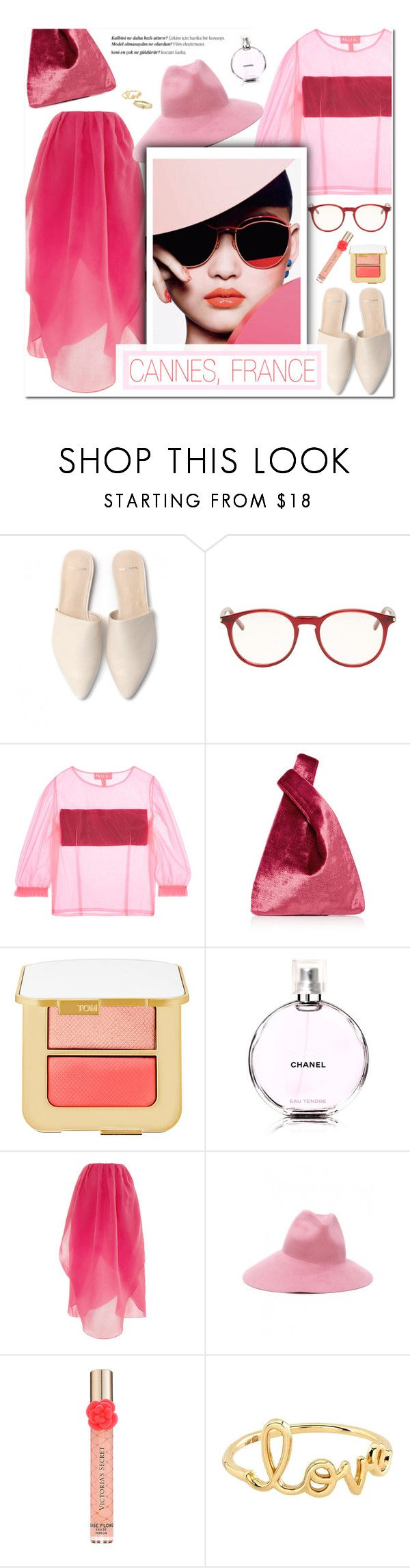 """How to Style an All Pink Monochromatic Outfit with Cream-Colored Mules and Coral Lipstick"" by outfitsfortravel ❤ liked on Polyvore featuring Yves Saint Laurent, Paskal, Hayward, Tom Ford, Chanel, Isa Arfen, Gucci, Victoria's Secret, Balmain and Sydney Evan"