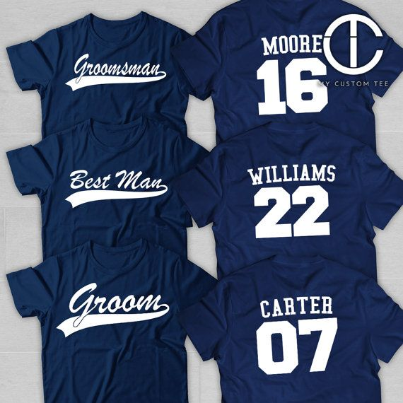 10 Groomsmen Shirts  Bachelor Party with Number  Baseball