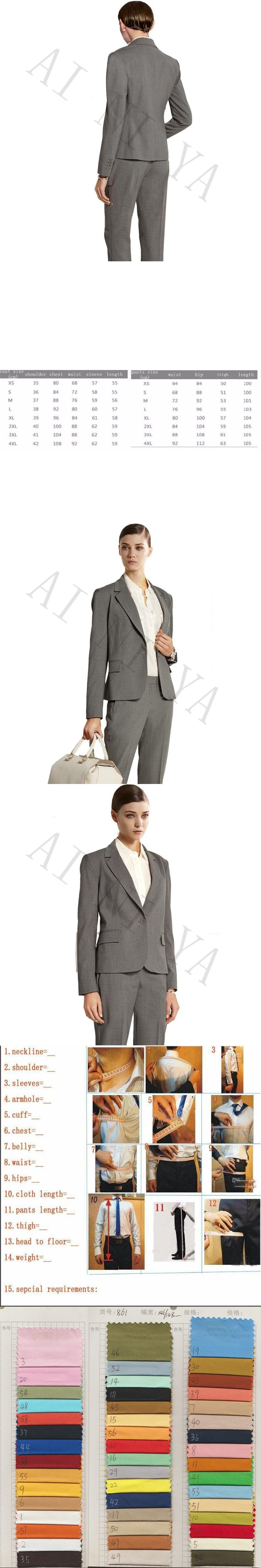 Jacket+Pants Women Business Suits Mid-Gray Single Breasted Female Office Uniform Evening Wedding Formal Ladies Trouser Suit