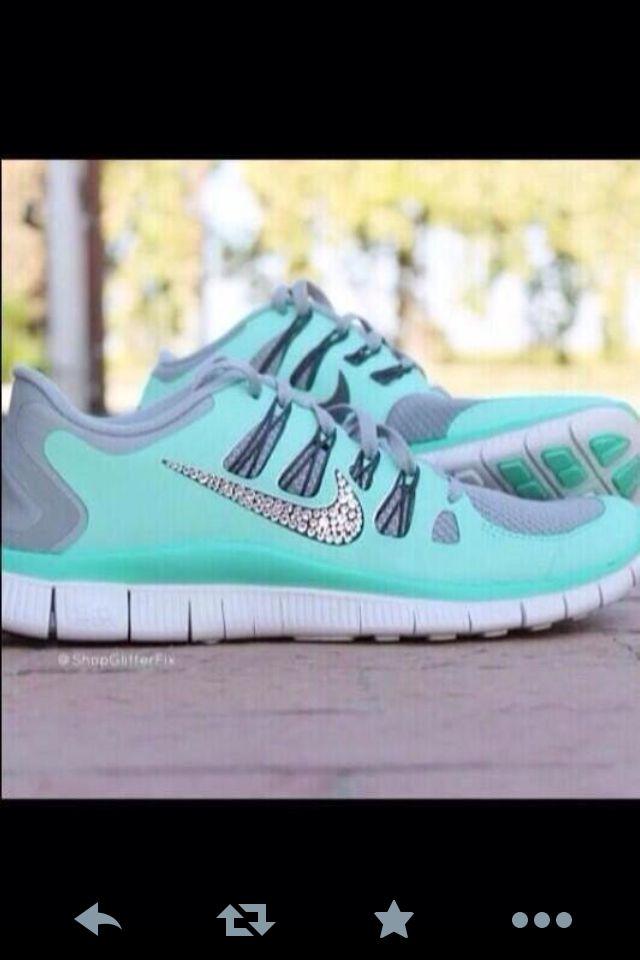 turquoise nikes with rhinestones shoes