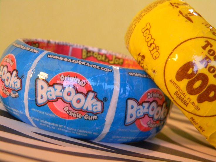 Candy Jewelry - Bazooka Blue Bubblegum - Upcycled Handmade - Bracelet Candy Jewelry