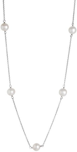 Splendid Pearls 7-7.5mm White Freshwater Pearl Tin Cup Necklace