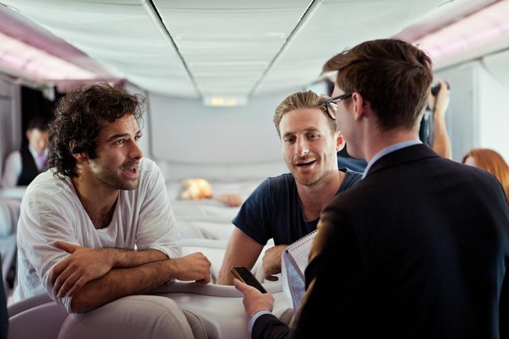Aidan Turner (Kili) & Dean O'Gorman (Fili) aboard Air New Zealand's - The Hobbit 777-300ER