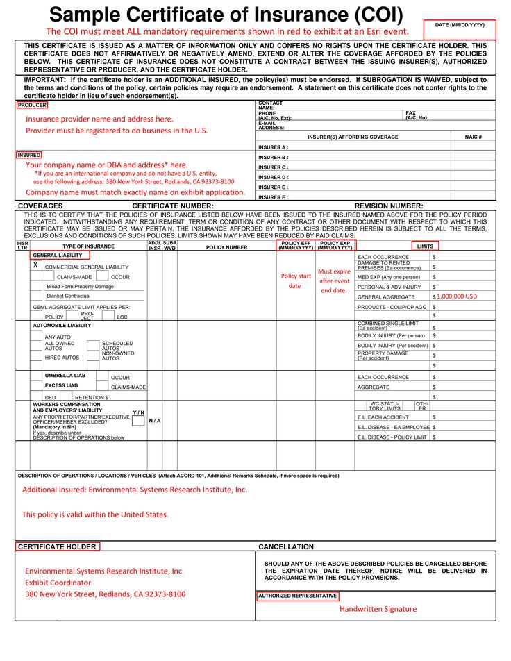 sample certificate of insurance  coi