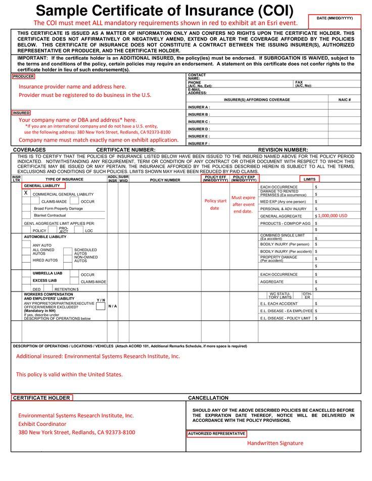 Sample Certificate Of Insurance (Coi) - Sample Certificate ...