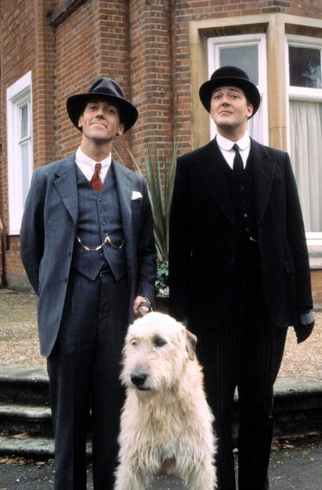 Jeeves & Wooster era Fry and Laurie. bonus points: Irish wolfhound. Such a cool time to be around...
