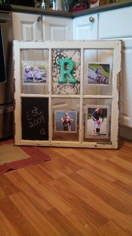 Old window photo display.