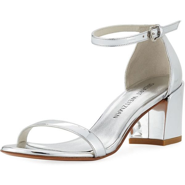 Stuart Weitzman Simple Metallic 55mm City Sandal (1,460 AED) ❤ liked on Polyvore featuring shoes, sandals, beige, leather shoes, ankle tie sandals, block heel ankle strap sandals, leather ankle strap sandals and strappy sandals