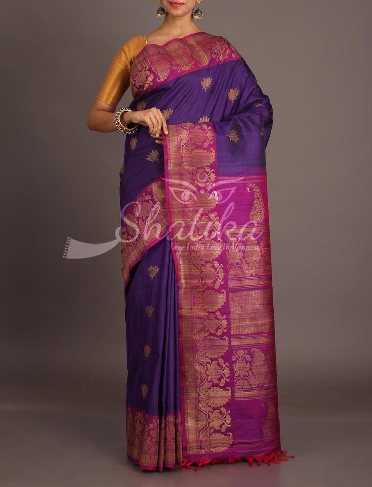 Preeti Violet And Purple With Jute Thread Lotus Motifs Smart Jute Silk Saree