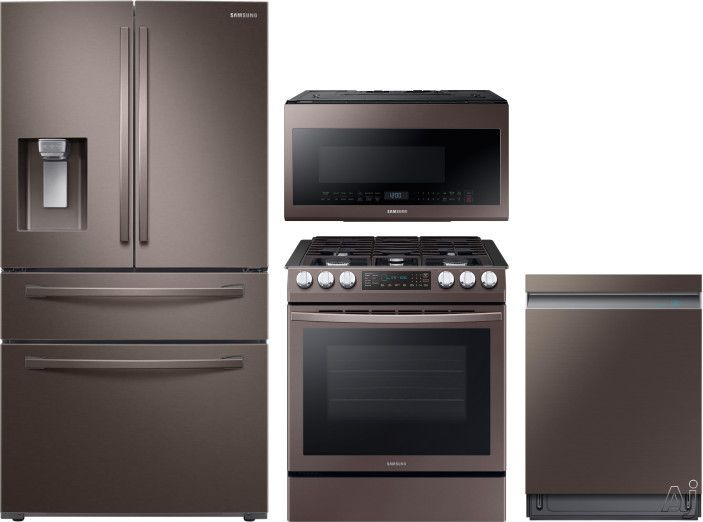 Samsung Sareradwmw4106 4 Piece Kitchen Appliances Package With French Door Refrigerator Gas Range Dishwasher And Over The Range Microwave In Tuscan Stainless Kitchen Appliance Packages Samsung Kitchen Appliances Kitchen Appliances