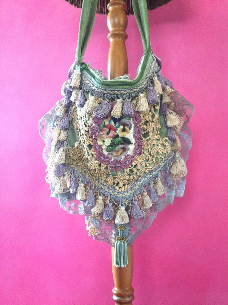 Bohemian Gypsy bag,green velvet,cream and mauve vintage laces & Italian passementarie tassels .Gold antique French bullion lace,hand beaded by RosemaryScarlet on Etsy