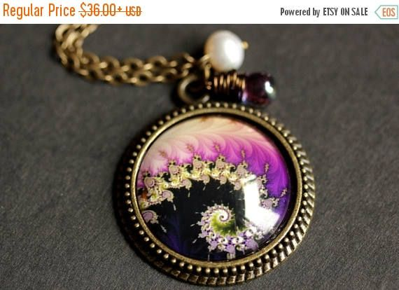 EASTER SALE Fractal Art Necklace. Purple Fractal Pendant. Purple Necklace with Glass Teardrop and Fresh Water Pearl. Bronze Necklace. Handma by TheTeardropShop from The Teardrop Shop. Find it now at http://ift.tt/1FQV9bi!
