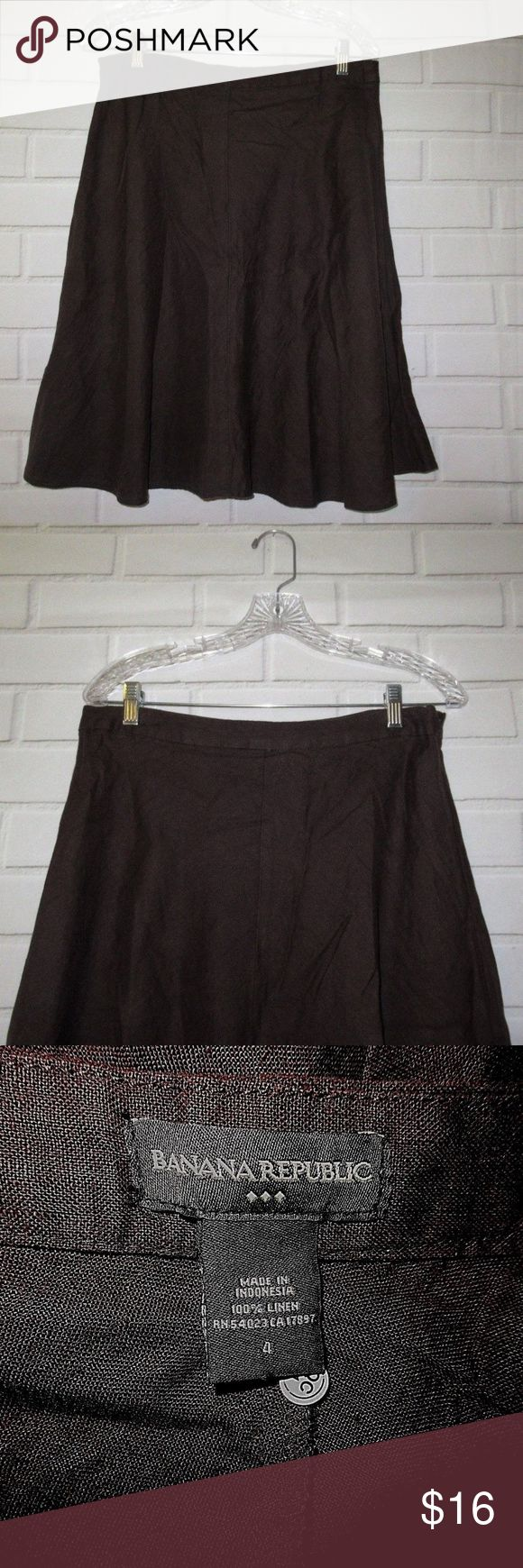 "Banana Republic Women's Skirt Size 4 Career Casual Banana Republic Women's Skirt Size 4 Career Casual Work Brown Flare Linen, Side Zipper Waist:30"" Length:24"" Very good conditions. (A14) Banana Republic Skirts"