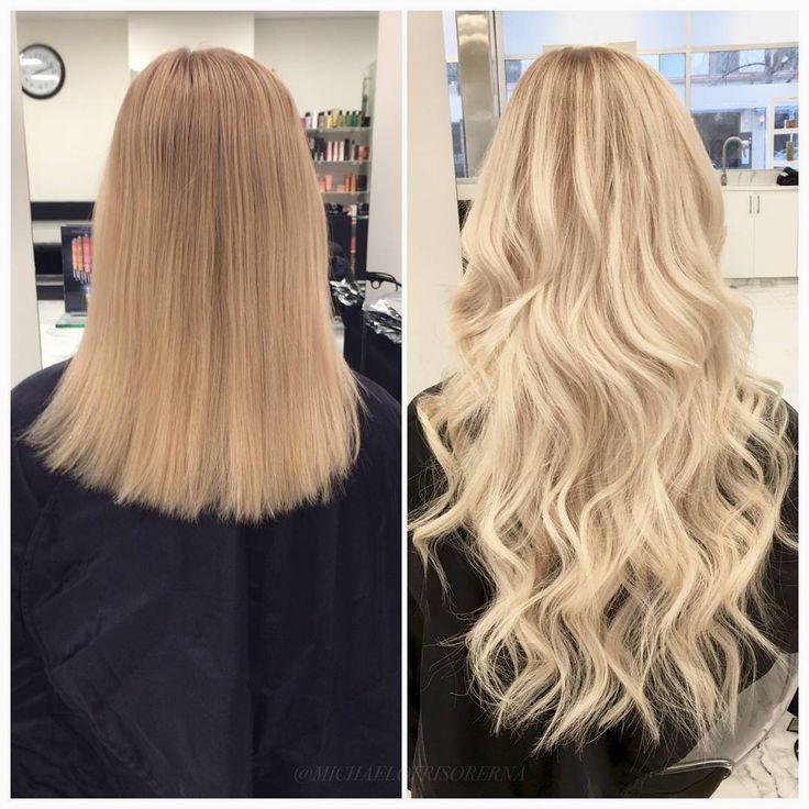 En rejäl uppljusning och hårförlängning från Rapunzel of Sweden 😍 Gillar ni det? #hairextensions #lighterhair #longhair