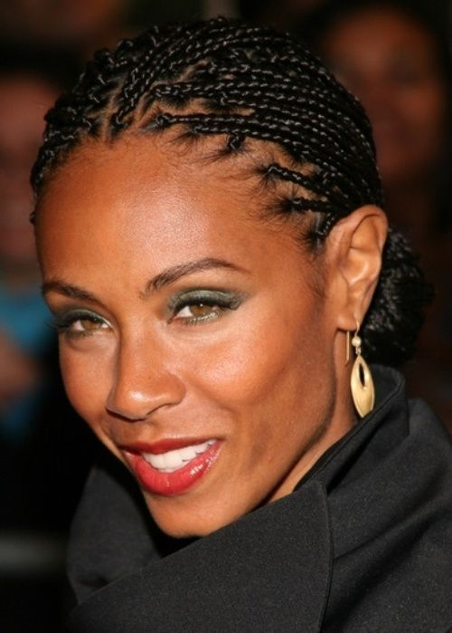 Jada Pinkett Smith African American Hairstyle Braided Low Bun Actress
